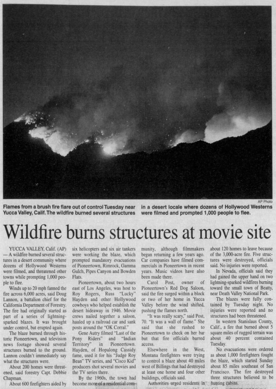 wildfire burn movie set clipping
