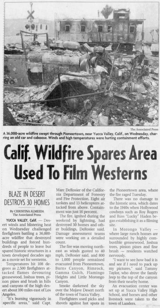 CA wildfire spares Pioneertown newspaper clipping