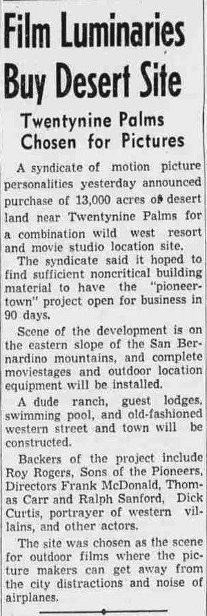 film luminaries buy desert land article clipping