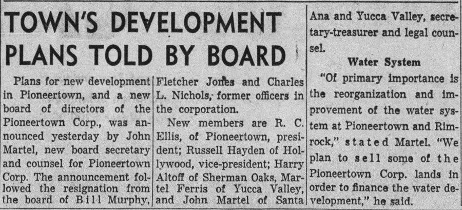 1955 town development article clipping