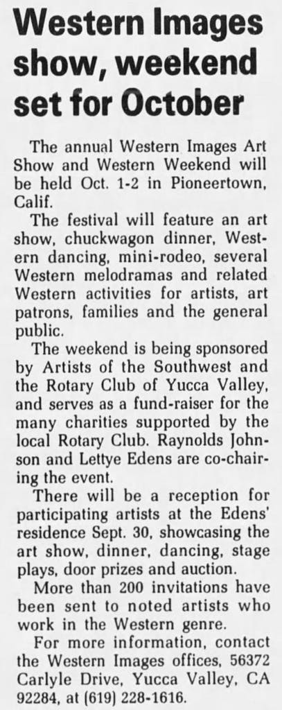 June 11, 1988 Western Images article clipping