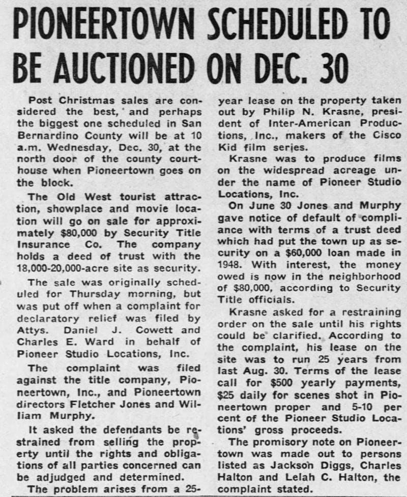 Dec. 19, 1953 - The San Bernardino County Sun article clipping