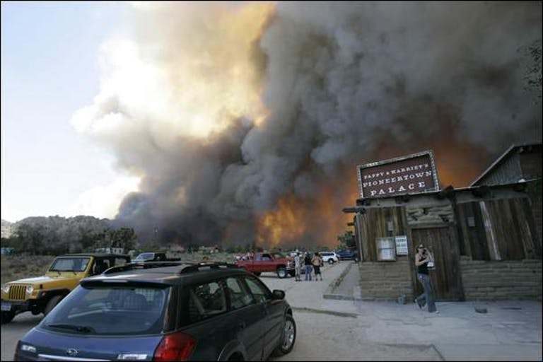 Sawtooth Fire Burning Through Pioneetown
