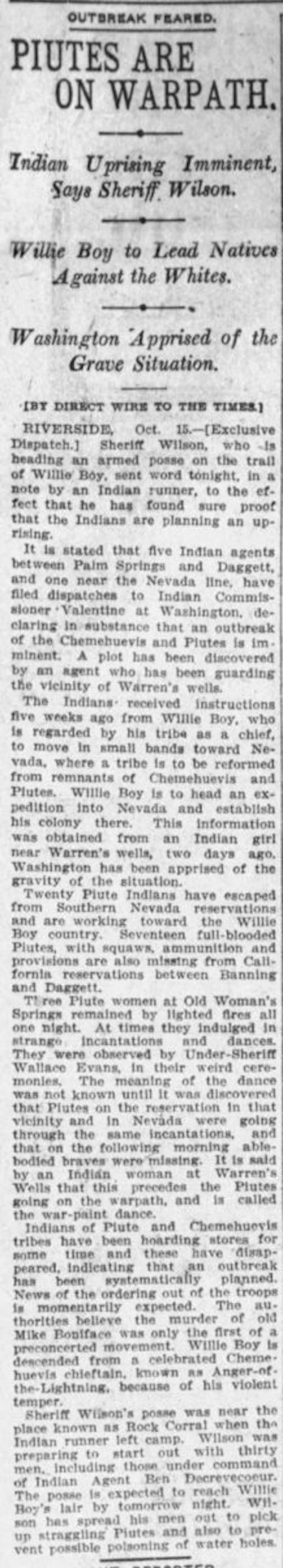 Oct.16, 1909 - The Los Angeles Times article clipping