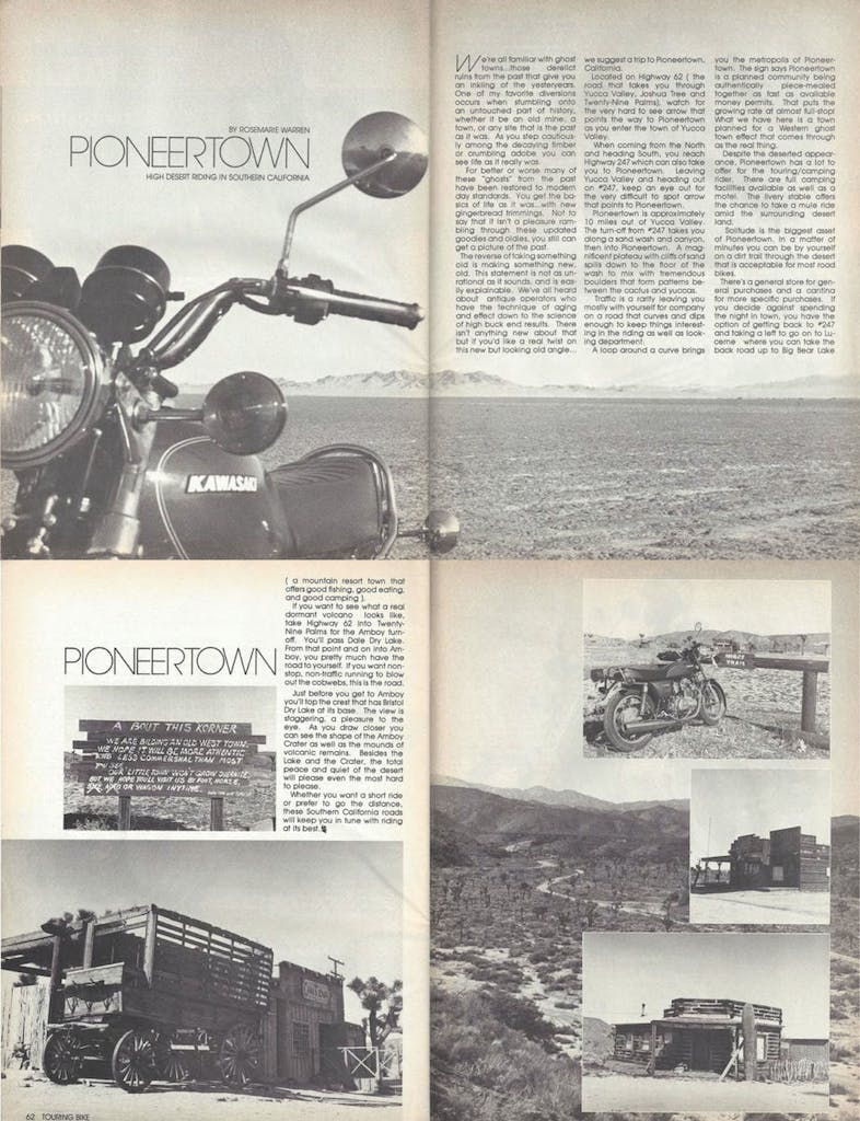 Touring Bike Pioneertown article from 1977