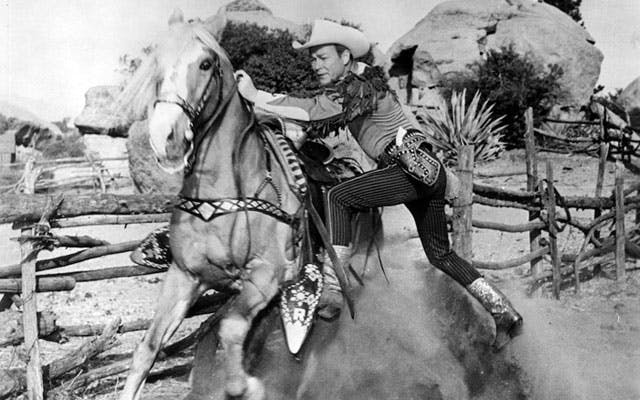 Roy Rogers and trigger photo. Links to Pioneertown film history page.