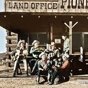 Roy Rogers and the Sons of the Pioneers at the land office in 1947