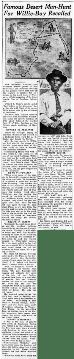 April 17, 1935 - The San Bernardino County Sun article clipping