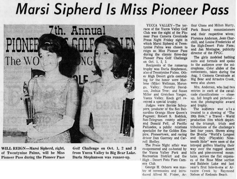 Miss Pioneer Pass article clipping