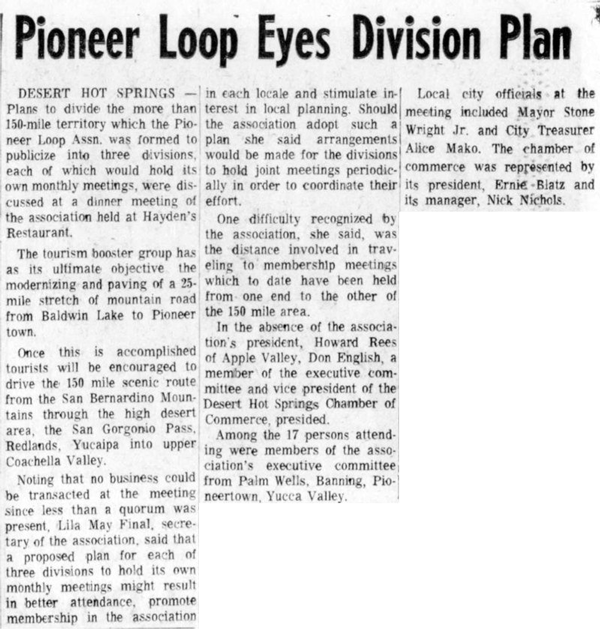 Aug. 8, 1966 - The Desert Sun article clipping
