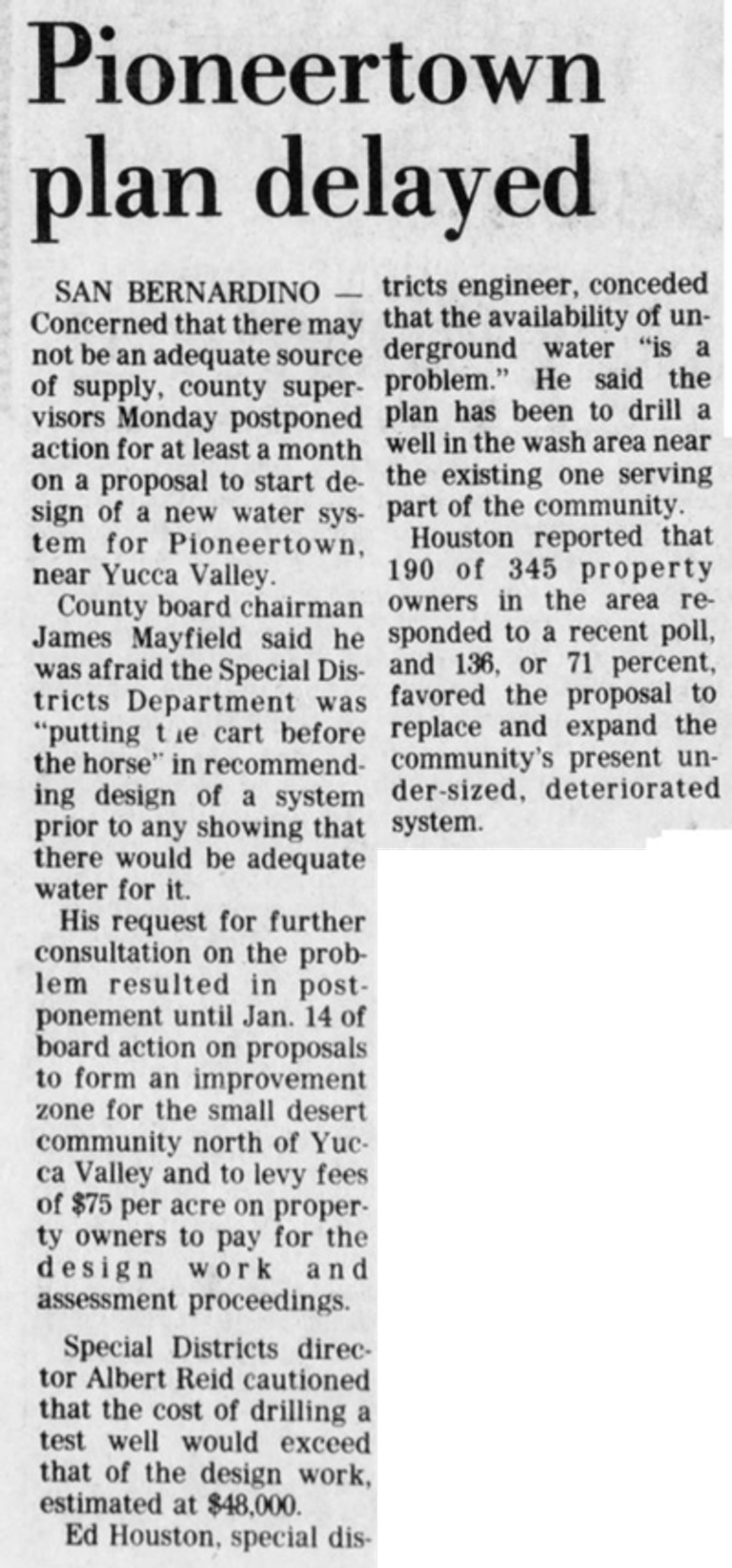 Pioneertown plan delyed article clipping