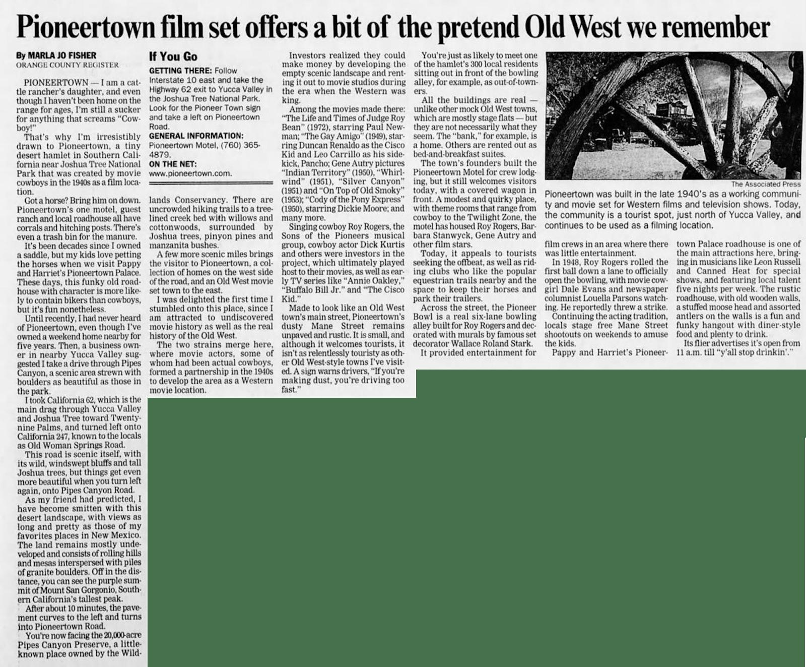 PIoneertown film set - Mar. 13, 2005 - Santa Cruz Sentinel article clipping