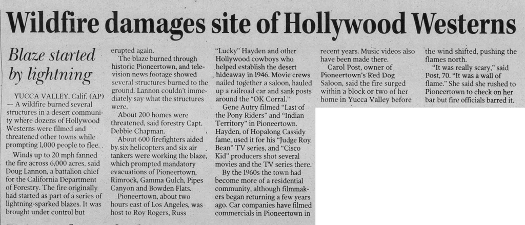July 12, 2006 Wildfire article clipping