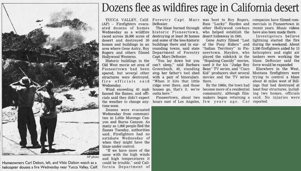 dozens flee wildfire clipping