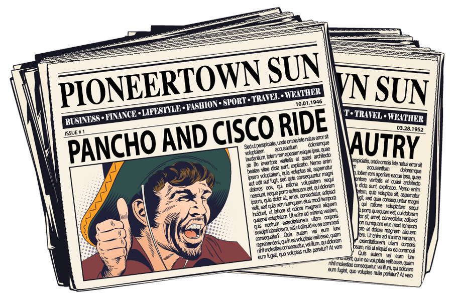 Pioneertown sun newspaper graphic