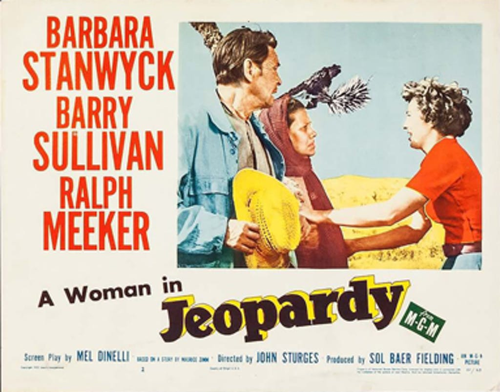 a woman in jeopardy lobby card