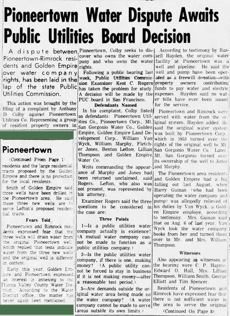 clipping of Sept. 1, 1966 Hi-desert Star article.