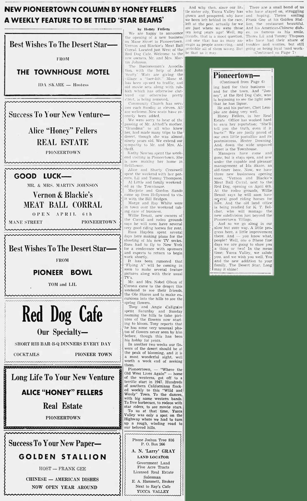 Apr. 3, 1957 - The Desert Star clipping